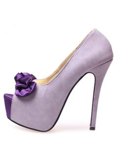 USD$16.00 Lovely Satin Bowtie Design Peep Toe PU Purple Platform Pumps at martofchina.com