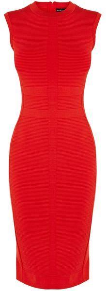 KAREN MILLEN Texture Stripe Bandage Knit Dress $222