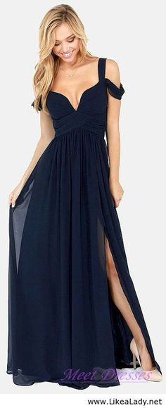 Elegant Navy Blue Prom Maxi Dress A Line Thick Straps V neck With a Slit Chiffon Prom Gowns   - Thumbnail 2