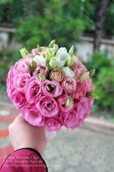 Baiciurina Olga's Design Room: Ombre Pink&White wedding bouquet-Бело-розовый свадебный букет омбре.