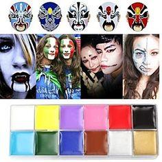 12 color de la pintura corporal rostro para el maquillaje de halloween impermeable del partido del arte pintura al óleo herramientas de
