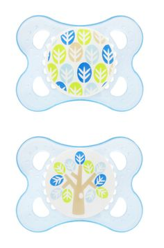 MAM Nature 0-6 month Pacifiers- Blue- Leaves and Tree