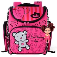 42.00$  Buy here - http://aiku5.worlditems.win/all/product.php?id=32792011651 - Delune Children School Bags for Girls Cute Bear Orthopedic Backpacks Primary Bookbag Mochila Escolar School Portfolio Backpacks