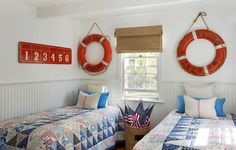Decorative House Flags Bedroom Beach with American Flags Bamboo Shades Beadboard Wainscoting Life Preservers Nautical