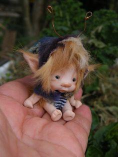 sweet tiny ooak full sculpt 2 inch fairy fairie bug with mushroom setting and bird