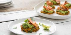 """From her latest cookbook """"Maggie's Recipes for Life"""", Maggie Beer shares her delicious recipe for sweet potato fritters with smashed avocado and salmon."""