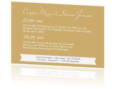 Klassieke trouwkaart met hart en krul in goud en wit. Bestel deze kaart op het papiersoort parelmoer en je kaart lijkt net echt goud