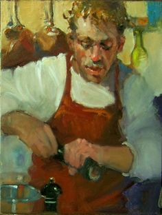 """Well Seasoned"" Kim Roberti's 6""x8"" original oil figure/portrait/chef, painting by artist Kim Roberti"
