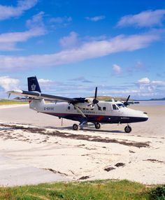 Best use of a beach?? Barra, Outer Hebrides Aircraft land on sand of Traigh Mhor when the tide is out. It's a pop-up airport!!