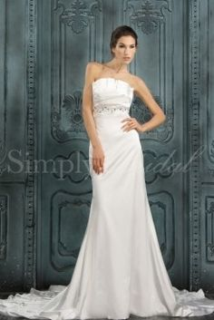 Wedding Dress by SimplyBridal. The Pamela gown has an eye catching bodice and a gorgeous court train. Lovely from all angles, this sheath charmeuse gown is incredibly chic yet understated.. USD $197.99