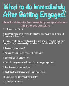 10 things to do immediately after you become engaged!
