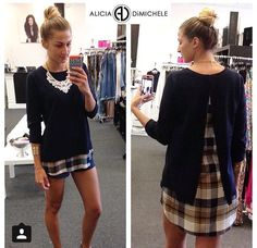"""My #ootd is back-to-school ready!  Alicia DiMichele Boutique has the perfect school style and fall essentials!  Search: Flyaway Plaid Sweater•Lace Necklace•Gold Cut Out Cuff  Use promo code """"FREESHIP"""" to get your shipping free!  Shop: www.aliciadimichele.com"""