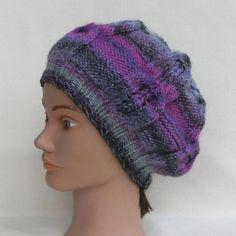 Vendu.. bonnet, fantaisie, femme,torsades, tricoté main, en laine,  rose violet gris, accessoire, mode, automne, hiver e4d09e85ef3