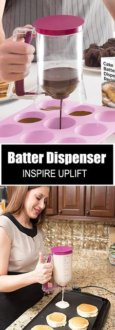 This easy-to-use, Handheld Batter Dispenser is equipped with an ergonomic, spring-loaded handle that opens and closes the dispenser nozzle. Cooking Tools, Cooking Recipes, Watermelon Smoothies, Home Vegetable Garden, Hacks, Kitchen Colors, Kitchen Ideas, Cake Batter, Diy Organization