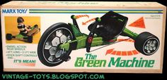 The Green Machine ... the Big Wheel on steroids!  The original Green Machine.  My son had one and I sure wish I could find one of these today.  I don't want the new one by Huffy.  I want the one my Marx Toys from the late 70's early 80's