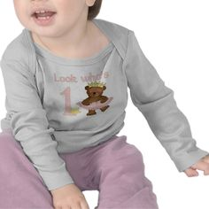 Look who's one ballet bear girls t-shirt