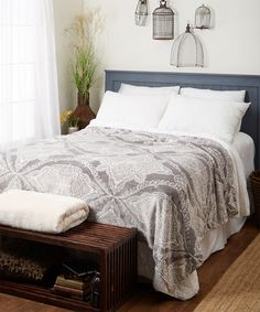 Home Fashions Gray Selena Casual-Chic Blanket Decoration, Casual Chic, Selena, Comforters, Blanket, House Styles, Grey, Furniture, Home Decor