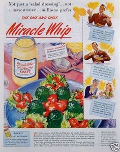 Check out that Jello Mold Salad...oh my.  Original 1945 Ad Kraft Miracle Whip Salad Dressing