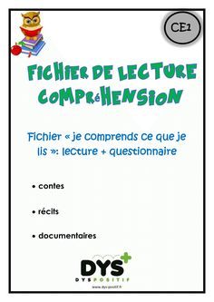 Lecture compréhension CE1 Read In French, Learn French, School Organisation, Teacher Organization, English Teaching Materials, Teaching English, School Info, Back To School, Teaching Reading