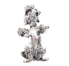 Vintage Silver Poodle Dog Pin