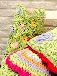 crochet blanket, crochet pillows, crochet cushions, pastels, crochet