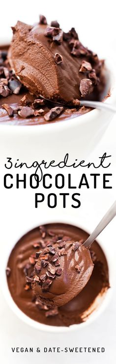 These paleo and vegan Chocolate Pots are the easiest most decadent dessert, made with NO coconut, tofu, avocados, or even sugar involved! Quick and easy healthy dessert idea. Healthy Vegan Dessert, Low Carb Dessert, Vegan Dessert Recipes, Vegan Treats, Healthy Sweets, Dairy Free Recipes, Just Desserts, Gluten Free, Paleo Recipes
