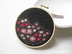 Hand Embroidered Flower Bed Hoop Art - No.2 by TropicalGarden, via Flickr