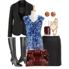 A fashion look from November 2012 featuring blue top, black jacket and knee length pencil skirt. Browse and shop related looks.