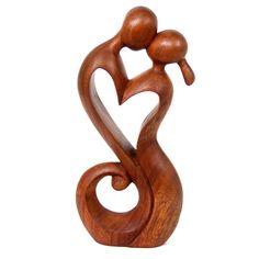 Romantic Suar Wood Sculpture - Everlasting Kiss | NOVICA