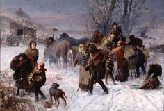 Charles T. Webber painted The Underground Railroad for the 1893 World's Columbian Exposition. It celebrates abolitionists' efforts to end slavery. Levi Coffin, his wife Catharine, and Hannah Haddock, all friends of the artist, are shown leading a group of fugitive slaves to freedom on a winter morning. The setting of The Underground Railroad is possibly the Coffin farm in Cincinnati.