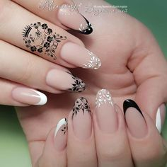 NagelDesign Elegant ( Ongles ) – NagelDesign Elegant ♥ - Famous Last Words French Nail Designs, Acrylic Nail Designs, Nail Art Designs, Nails Design, Design Design, Classy Nails, Stylish Nails, Gorgeous Nails, Pretty Nails