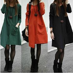 cotton blend long sleeve plus size placketing irregular casual dress women dresses new fashion 2013 autumn winter drop shipping $17.97
