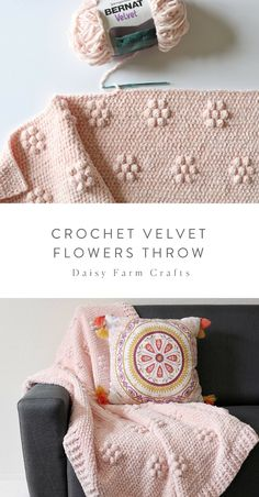 Free Crochet Pattern - Crochet Velvet Flowers Throw When I first started brainstorming ideas for this blanket, I was actually trying to make giant polka dots. I thought… Manta Crochet, Knit Or Crochet, Crochet Stitch, Free Crochet, Knitted Baby, Knitted Dolls, Afghan Patterns, Crochet Blanket Patterns, Crochet Free Patterns