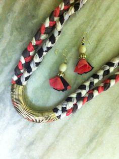 DIY fabric scrap necklace