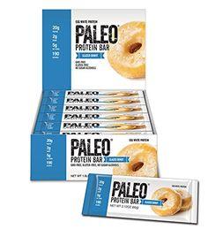 Paleo Protein Bar® (Glazed Donut) 12 Bars (20g Egg White Protein) 5 Net Carbs (Organic Prebiotics / Probiotics) - http://exclusivelypaleo.com/paleo-protein-bar-glazed-donut-12-bars-20g-egg-white-protein-5-net-carbs-organic-prebiotics-probiotics/