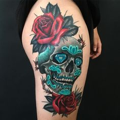Turquoise Sugar Skull with Red Roses Tattoo