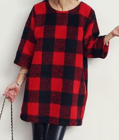 Tartan/check pattern is one of winter's hit, check out this alpaca blend loose fit dress, side pockets, wear with long boots and your favorite bags, 2 combos Red and Ivory