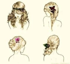 Cute everyday (school) hair styles - I like the top left one for a little girl.