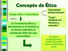 Concepto de Ética La Conciencia ética y dominante en el hombre y en forma colectiva la conciencia ética de una comunidad. Estudia el comportamiento moral del h…