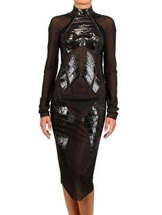 MUGLER Printed Croc Insert Spandex Net Dress