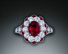 Michael Schofield Art Deco ruby and diamond ring