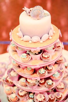 Love the small top cake and then cupcakes idea...easier for all guests to get a taste, and looks nice