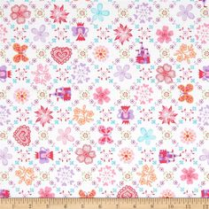Michael Miller Princess Charming Royal Sampler Brite from @fabricdotcom  Designed for Michael Miller, this cotton print fabric is perfect for quilting, apparel and home decor accents. Colors include shades of pink, purple, orange, turquoise, green, and white.