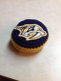Crocheted Nashville Predator Hockey Puck