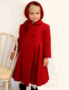 Child's coat in blue with dark collar | Girls Traditional Classic ...