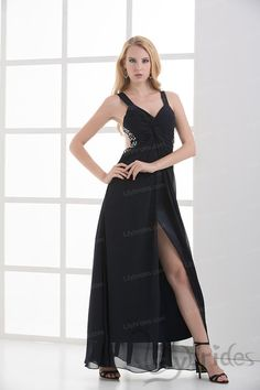 A-line Halter Satin Chiffon Beading Ankle Length Prom Dress