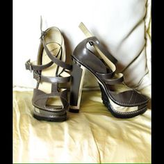 Brian Atwood kill yourself cute platforms! Never worn Brian Atwood sandals. So unique and fun! Small scratch on heel but otherwise excellent condition. Brian Atwood Shoes