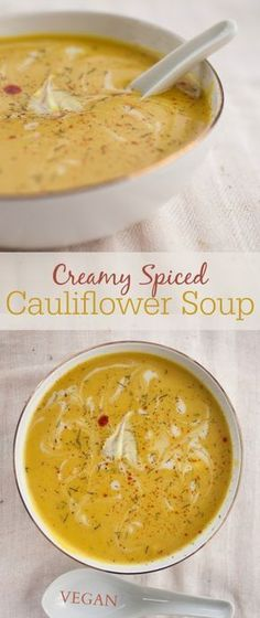 "Creamy spiced cauliflower soup - produce on parade - creamy spice . - Creamy Spiced Cauliflower Soup – Produce on Parade – Creamy Spiced Cauliflower Soup ""The Only C - Spiced Cauliflower, Cauliflower Soup Recipes, Vegan Califlower Recipes, Vegetarian Recipes, Cooking Recipes, Healthy Recipes, Vitamix Soup Recipes, Healthy Soups, Vegetarian Food"