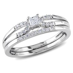 Princess and round-cut white diamond bridal ring setSterling silver jewelryClick here for ring sizing guide