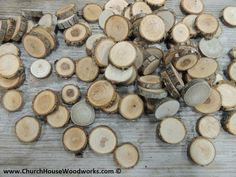 300 qty 1 inch Small Wood Slices, Eclectic Mix, for crafts, buttons, wood art, wedding table scatters, confetti, wood mosaics